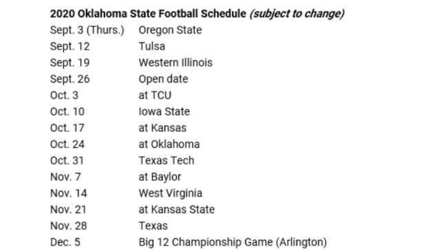 Ou Football Schedule 2020.Oklahoma Oklahoma State Release 2020 Football Schedules Ktul