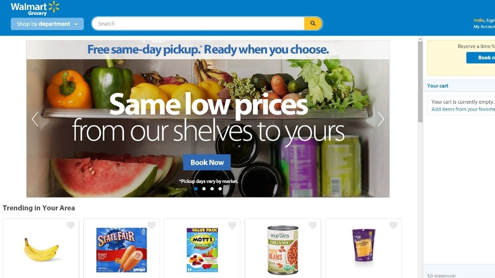 Walmart online grocery shopping service now available in