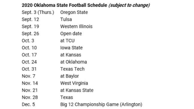 Oregon State Football Schedule 2020.Oklahoma Oklahoma State Release 2020 Football Schedules Ktul